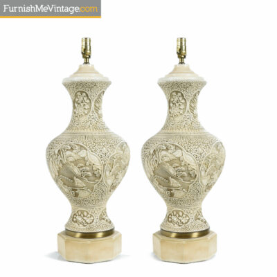 ivory chalkware chinese lamps