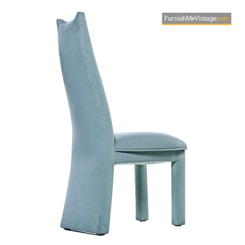 Modern Aqua Blue Microfiber Upholstered High Back Dining Chairs