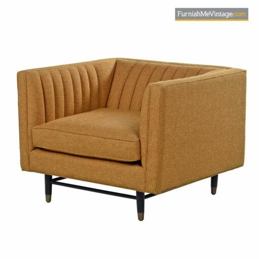 mid century orange tweed tuxedo chair