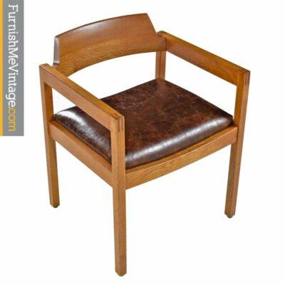 restored oak gunlocke chair in leather