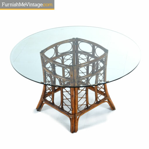 round glass rattan dining table