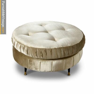 round gold mid century modern ottoman