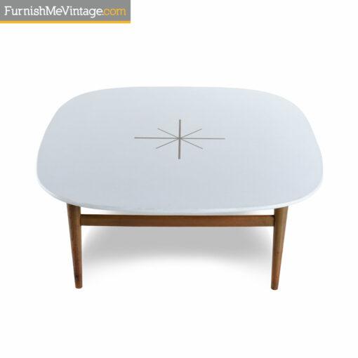 starburst mid century white coffee table