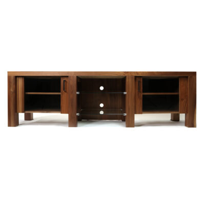 Verbois walnut wood low profile modern TV stand