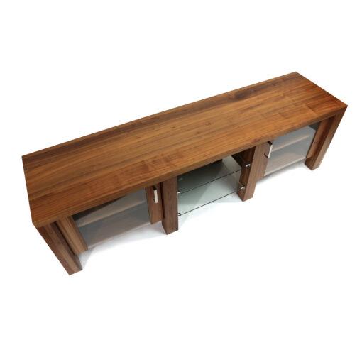 Verbois walnut wood low profile modern TV stand