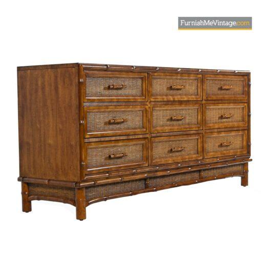vintage cane rattan dresser