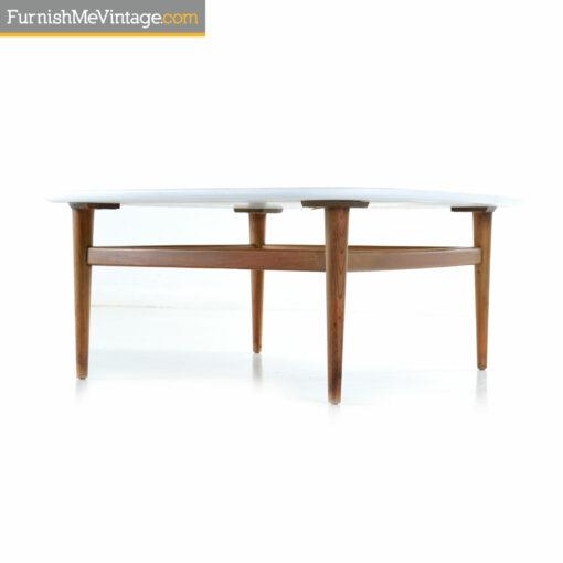white walnut mid century coffee table