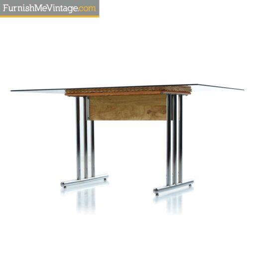 1970s chrome wicker table