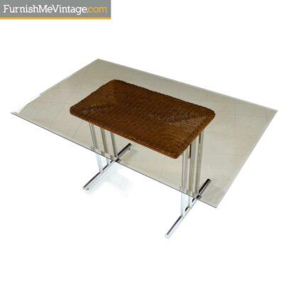 70s smoked glass chrome table