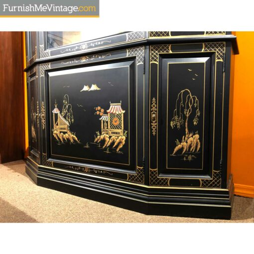 chinese lacquer breakfront cabinet