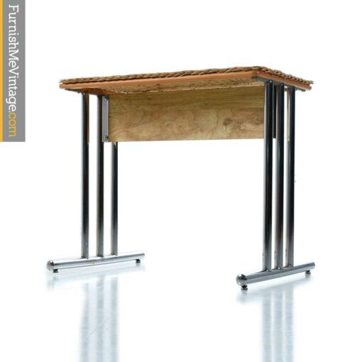 chrome wicker pedestal table base