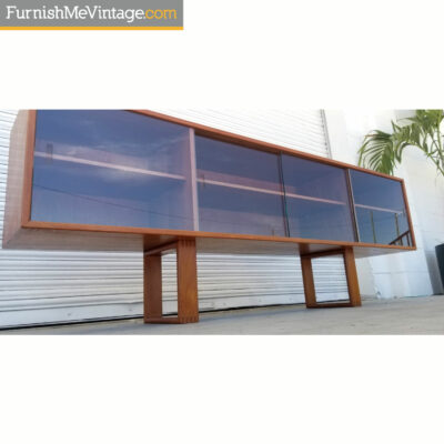 Danish teak credenza hutch with glass doors