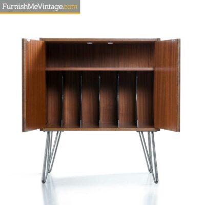 danish teak vintage record cabinet