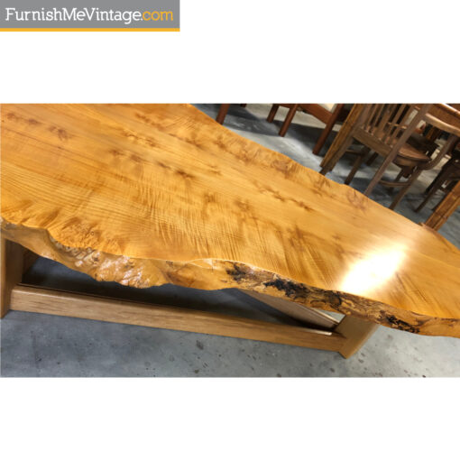 live edge nakashima style birdseye maple slab coffee table