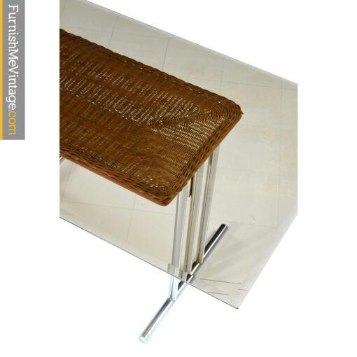 smoked glass wicker chrome table