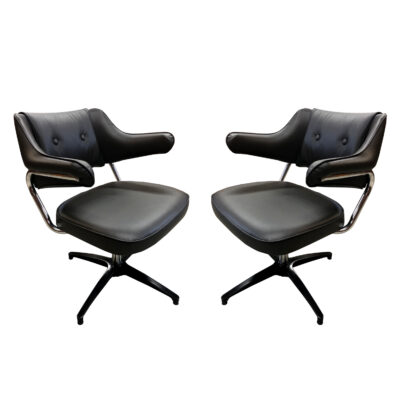 black and chrome swivel chairs