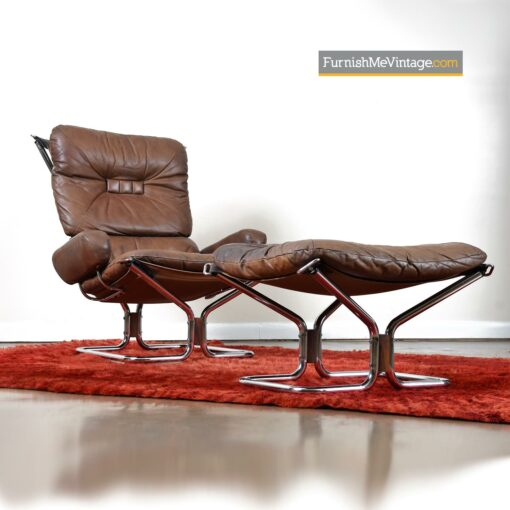 Ingmar Relling Westnofa Leather and chrome lounge chair recliner with ottoman