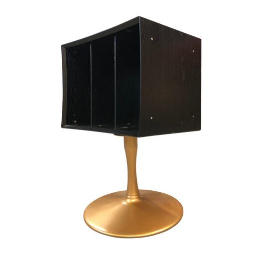 quadraspire black and gold record storage cabinet