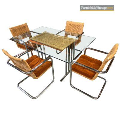 Chromcraft Orange Velvet Dining Chairs