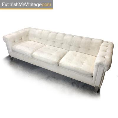 vintage white tufted tuxedo sofa chrome legs