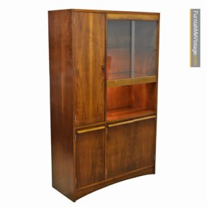Mid-Century Modern Lighted Glass Door Walnut China Hutch Cabinet