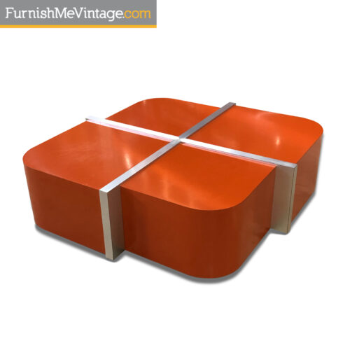 rounded square orange formica mid century modern coffee table with brushed aluminum dividers