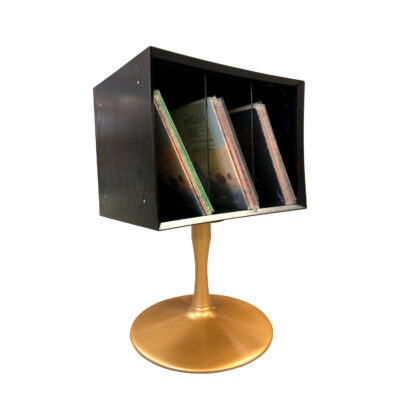 quadraspire black and gold record storage cabinet