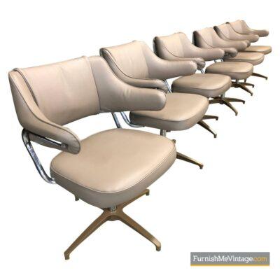 beige brown chrome swivel chairs task chairs