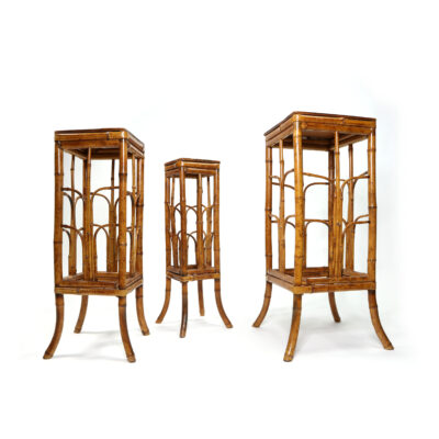 Vintage tortoise bamboo plant stands