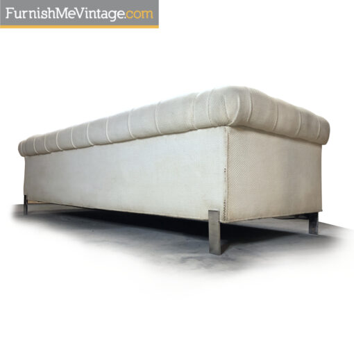 vintage white tufted tuxedo sofa chrome legs