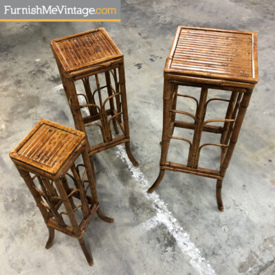 Tortoise shell bamboo plant stands