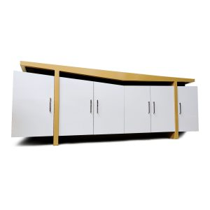 Deco Inspired Modern White and Beige Credenza TV Stand Buffet