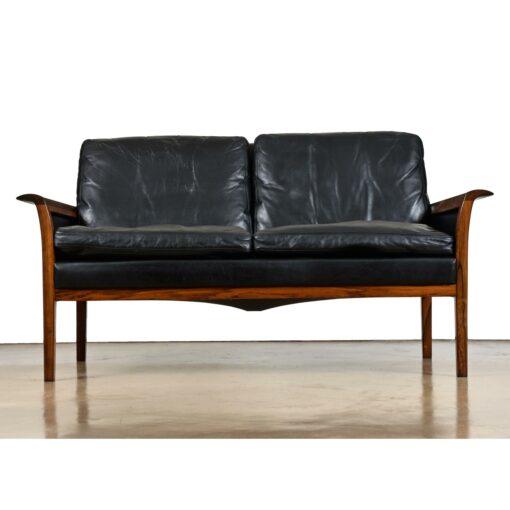 Frederik Kayser leather rosewood settee sofa 8