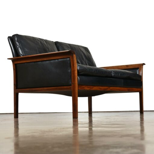 Knut Saeter for Vatne Mobler Danish rosewood and black leather sofa settee loveseat