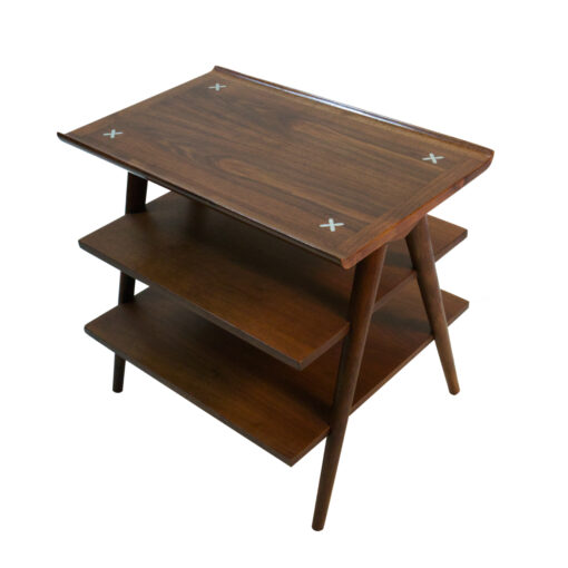 American of Martinsville walnut Accord tiered magazine end table