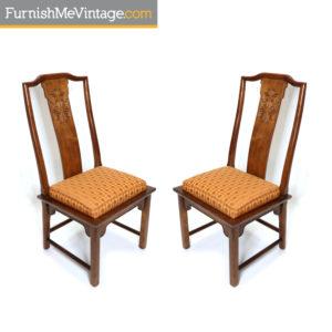 Pair of Chin Hua Orange Seat Dining Chairs by Century