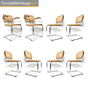Marcel Breuer Style Blond Beech Wood Chrome Cesca Dining Chairs