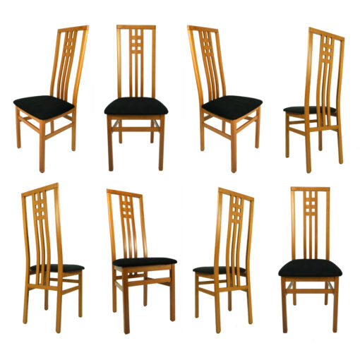 Cherry wood dining chairs made in Italy with high back and black seats