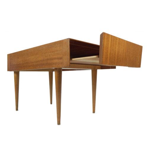 Brown Saltman John Keal mahogany pull out tray side table