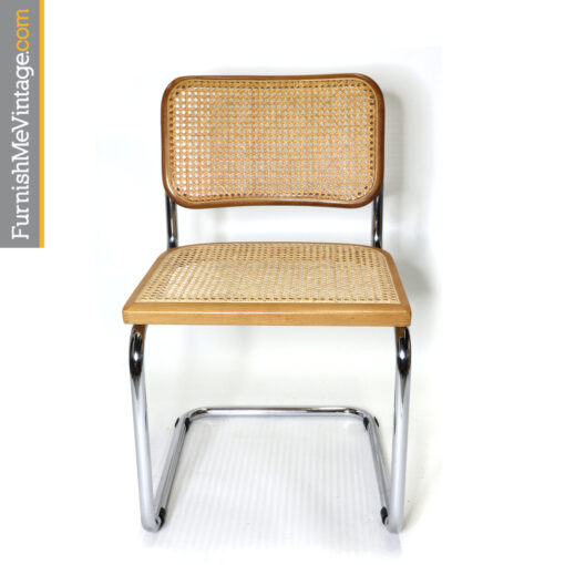 Marcel Breuer Cesca chairs blond beech wood chrome and cane seats