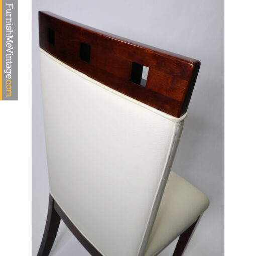 white leather modern bar stools with cherry wood
