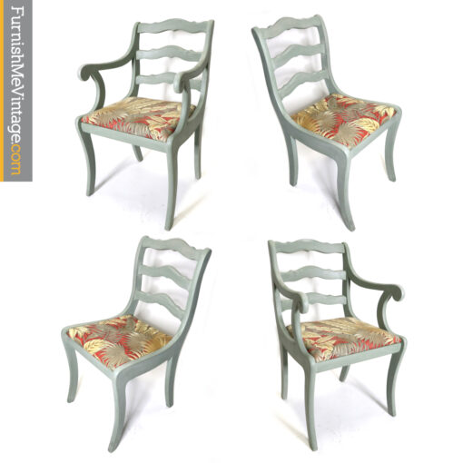 seafoam green coastal decor chalk paint dining chairs Tommy Bahama palm tree chairs