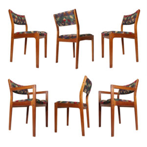 Danish Teak Dining Chairs in Green Red and Dijon Knoll Fabric