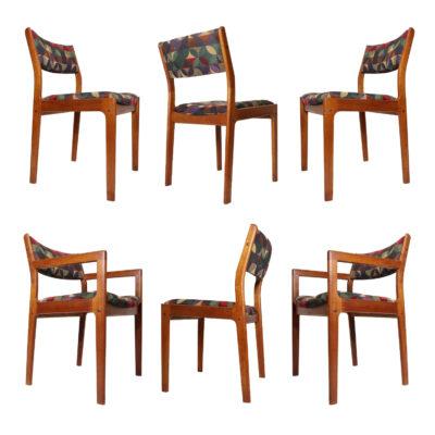 Knoll textiles fabric mid century modern Danish teak dining chair