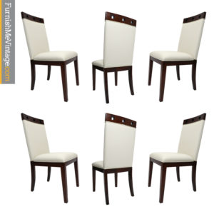 Modern White Faux Leather Solid Beech Wood Dining Chairs
