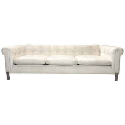 White Tufted Tuxedo Sofa on Chrome Legs
