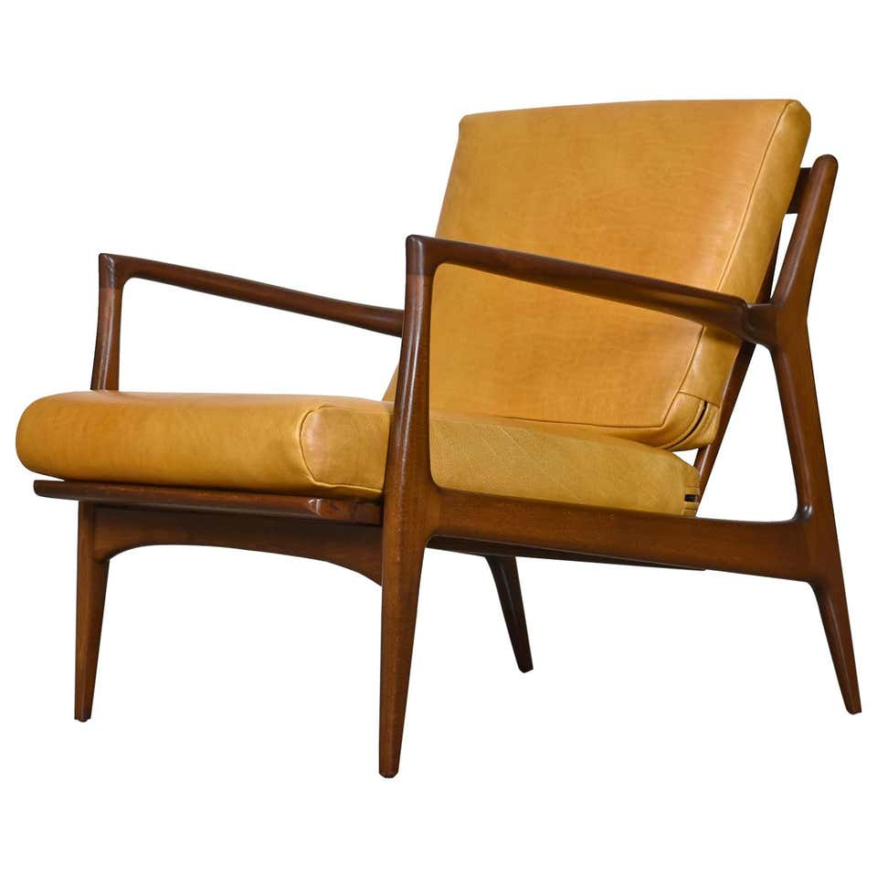 Vintage Danish Modern Ib Kofod Ln For Selig Leather Lounge Chair