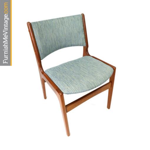 Blue Danish teak dining chairs