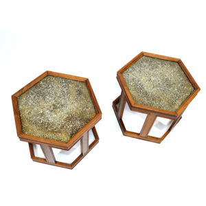 John Keal For Brown Saltman Hexagonal Walnut Enamel Side Tables
