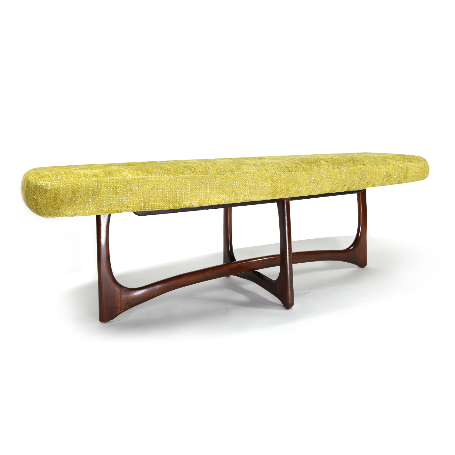 Adrian Pearsall Style Mid Century Modern Chartreuse Walnut Bench